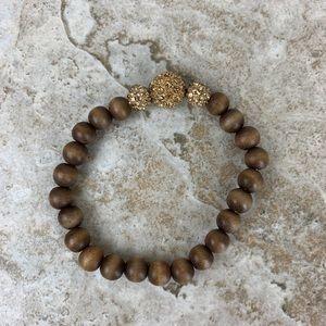 Stella & Dot Retired Wood Bead Prosper Bracelet